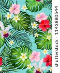 floral seamless tropical... | Shutterstock .eps vector #1143880544