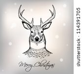christmas card with deer | Shutterstock .eps vector #114391705