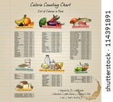 colorful calorie chart with... | Shutterstock .eps vector #114391891