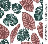 tropical jungle leaves. vector... | Shutterstock .eps vector #1143928571