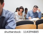 students sitting in the adult... | Shutterstock . vector #114394885