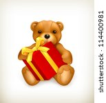 teddy bear with gift  vector | Shutterstock .eps vector #114400981