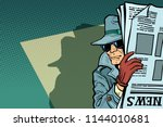 spy detective in hat and... | Shutterstock .eps vector #1144010681