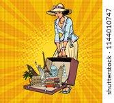 Pop Art Retro Woman Traveler....