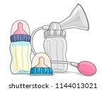 illustration of manual breast... | Shutterstock .eps vector #1144013021