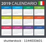 calendar 2019   italian version ... | Shutterstock .eps vector #1144033601