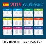 calendar 2019   spanish version ... | Shutterstock .eps vector #1144033607