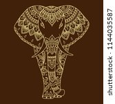 african elephant decorated with ... | Shutterstock .eps vector #1144035587