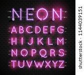 high detailed neon font set ... | Shutterstock .eps vector #1144039151