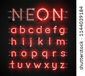 high detailed neon font set ... | Shutterstock .eps vector #1144039184