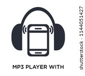 mp3 player with headphones icon ... | Shutterstock .eps vector #1144051427