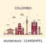colombo skyline  sri lanka.... | Shutterstock .eps vector #1144064951