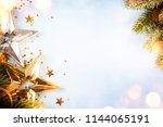 wooden holiday background ... | Shutterstock . vector #1144065191