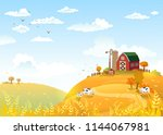 rural scene with the farm and... | Shutterstock .eps vector #1144067981