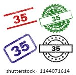 35 seal prints with corroded... | Shutterstock .eps vector #1144071614
