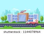 city hospital modern building ... | Shutterstock .eps vector #1144078964