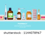 pharmacy  medicine and... | Shutterstock .eps vector #1144078967