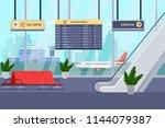 airport terminal interior ... | Shutterstock .eps vector #1144079387