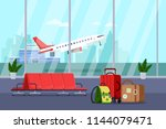 airport terminal interior ... | Shutterstock .eps vector #1144079471