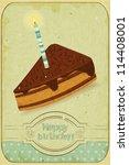 retro birthday card   a piece... | Shutterstock .eps vector #114408001