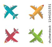 colorful plane in flat design...   Shutterstock .eps vector #1144101551