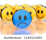 one blue sad face in front and... | Shutterstock . vector #1144111601