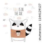 vector line drawing raccoon in... | Shutterstock .eps vector #1144129127