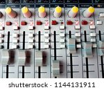 vintage sound or audio mixer in ... | Shutterstock . vector #1144131911