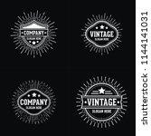 vintage retro sunburst logo | Shutterstock .eps vector #1144141031