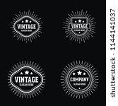 vintage retro sunburst logo | Shutterstock .eps vector #1144141037