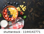 dietary breakfast with... | Shutterstock . vector #1144142771