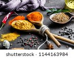 spices for cooking with kitchen ... | Shutterstock . vector #1144163984