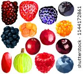 exotic berries set colorful low ... | Shutterstock .eps vector #1144172861
