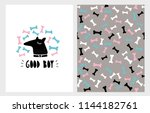 cute abstract hand drawn dog... | Shutterstock .eps vector #1144182761
