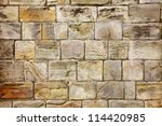 Medieval stone wall background - stock photo