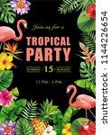 tropical hawaiian party... | Shutterstock .eps vector #1144226654