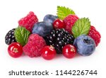 fresh berries isolated on white ... | Shutterstock . vector #1144226744