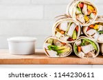 healthy lunch snack. stack of... | Shutterstock . vector #1144230611