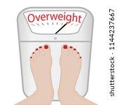 woman feet on a weight machine... | Shutterstock .eps vector #1144237667