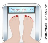 woman feet on a weight machine... | Shutterstock .eps vector #1144237724