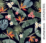tropical seamless pattern with... | Shutterstock .eps vector #1144241501
