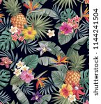 tropical seamless pattern with... | Shutterstock .eps vector #1144241504