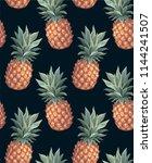 pineapple seamless pattern.... | Shutterstock .eps vector #1144241507