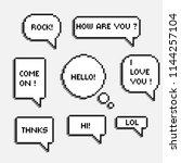 pixel 8 bit speech bubbles with ... | Shutterstock .eps vector #1144257104