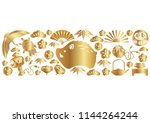 year of the wild boar icon and... | Shutterstock .eps vector #1144264244