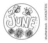 june coloring pages for kids   Shutterstock .eps vector #1144267331