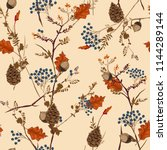 retro autumn pattern with ... | Shutterstock .eps vector #1144289144