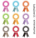 blank rosettes with stitched... | Shutterstock .eps vector #114429691