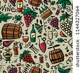 winery  seamless pattern for... | Shutterstock .eps vector #1144327064