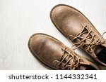 close up vintage leather shoes... | Shutterstock . vector #1144332341
